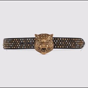 Gucci Studded Feline Head Belt (100% Authentic)